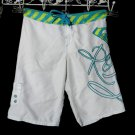 ROXY Quiksilver Board Shorts 00 Teal White Ylw Embroidered surf swimwear beach