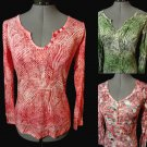 Nwt SAS'A Semi Sheer T-shirt top SM Pink Green Brown Paintbrush Fall Blouse LS