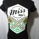 "Nwt HOT TOPIC Miss May I ""Axes"" T-shirt womens XS Black Turquoise short sleeve"