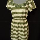CHARMING CHARLIE Tea Dress M Beige Olive green Scoop Roses Fancy Fall theme