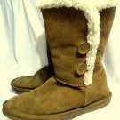 TALEIGH Suede Winter Boots women 8 Camel Brown Fur lined insulated Mid Calf snow