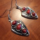 ARROW HEAD Red Marbled Earrings Silver-tone Southwestern Ranch Christmas Gift