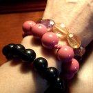 Lot of 3 VINTAGE BEADED Bracelets Black Pink Lavender Peach Retro Office Jewelry