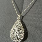 """New FILIGREE TEAR PEAR Pendant & Necklace Set 20"""" 925 Silver Bamboo link chain"""