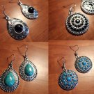 Nwt Holiday MEDALLION BOHO Earrings  Blue Black Green Silver Indie ChristmasGift
