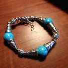 "New TURQUOISE BEADED Bangle Bracelet 6""-8"" Silvertone Cluster Shamballa Jewelry"