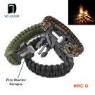 4 in 1 Fire Starter Whistle,Outdoor Camping Survival Gear Buckle Travel Kit Equipment,Para