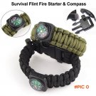 5in1 Survival Flint Fire Starter Paracord Whistle Gear Buckle Camping Ignition Equipment R