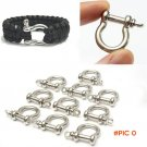 10pcs/lot Outdoor Camping Survival Rope Paracord Survival Bracelets O-Shaped Stainless Ste