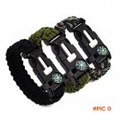 Outdoor Survival Bracelet Flint Fire Starter Gear Escape Paracord Whistle Cord Buckle Camp