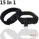Survival Bracelet Flint Fire Starter Gear Escape Paracord Whistle Cord Buckle Camping Brac