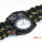New Arrival Outdoor Camping Travel Kit Watch With Survival Flint Fire Starter Paracord Com