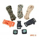 3Pcs 10FT 7Strand Parachute Cord+Flint Stone Whistle Buckle Compass Lanyard Rope Camping P