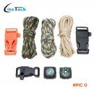 Wear Resistant 140kg Strength 3Pcs 10FT 7Strand Parachute Cord+Flint Stone Whistle Buckle