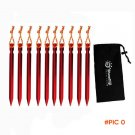 10pcs 18cm Tent Peg Nail with Bag 700I Aluminium Alloy Stake with Rope Camping Equipment O