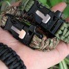 4 in 1  EDC Gear  Flint Fire Starter Scraper  Whistle Buckle Bracelet Rescue Paracord Rope