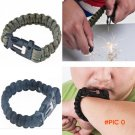 4 in 1 Survival Flint Fire starter paracord watchband Whistle Gear Buckle Camping rescue r
