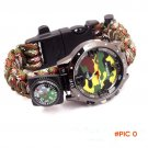 Outdoor camping Multicam Travel Kit Watch With survival Flint Fire starter paracord Compas