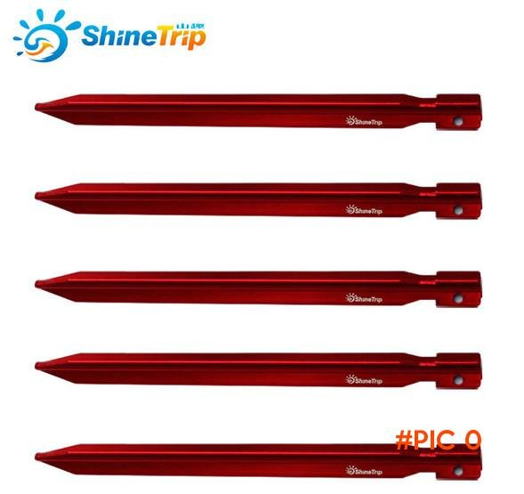 10PCS 25cm Strong Triangular Tents Peg Nail Aluminium Alloy Stake with Rope Camping Equipm