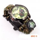 Multicam Outdoor camping Travel Kit Watch paracord + survival Flint Fire starter + Compass