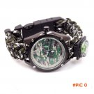 5in1 Camo Outdoor camping Travel Kit bracelet Watch / survival Flint Fire starter / Compas