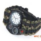 Outdoor Camping Travel Kit Watch Wrist watche With Survival Flint Fire Starter Paracord Co