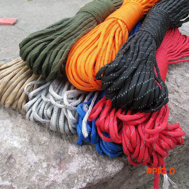 50 FT/ 16 Meters Paracord Rope 7 Colors Paracord 550 Cuerda Escalada Mil Spec Type 4 Stran