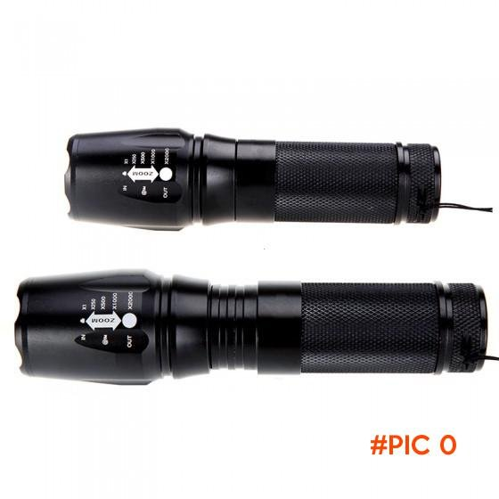 Zoomable CREE XM-L T6 Black 2000Lm Powerful LED Flashlight lamp LED torch linternas with H