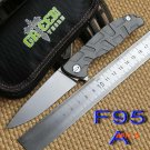 GreenthornF95 Flipper folding knife bearing CPM D2 blade TC4 Titanium handle outdoor campi