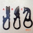 Outdoor EDC Tool Wrench Keychain Blade Cutter Screwdriver Bottle Opener Carabiner Camping