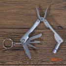 9 In 1 Stainless Steel Folding Plier+ Screwdriver+ Bottle Opener _LED Flashlight Outdoor P
