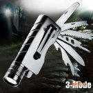 1200Lum Cree Q5 LED Outdoor flashlight rechargeable camping knife torch survival multifunc