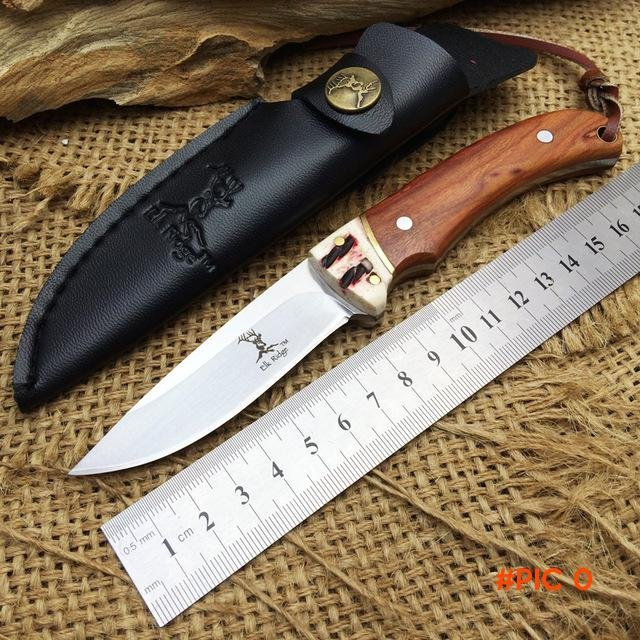 Elk Ridge Small Fixed Knives,7Cr17Mov Blade Wooden Handle Hunting Knife,Camping Survival K