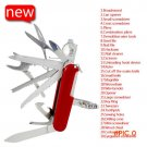 Red Swiss Blade Knife 91mm Multifunctional Stainless Steel Survival Knife Outdoors Folding