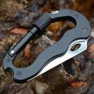 Outdoor Camping Hiking Multifunction D Type Carabiner Hook Pocket Knife Keychain Bottle Op