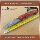 DS021 Vg10 Damascus steel knife anegre handle gift knife utility camping knife BC1653