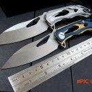 High Quality New ALEX Flipper Bearings Knife 9cr Blade steel knife + steel handle camping