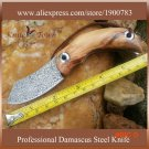 DS042 damascus steel knife with  olive wood  utility folding knife BC2063