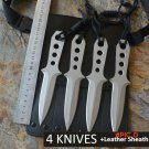 4 Diving Knives /Set USA Fixed 440C Blade Knife With Leather Sheath Survival Tactical Knif