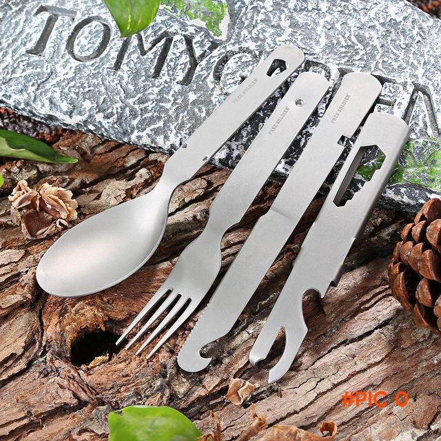 Outdoor Tableware Camping Hiking Picnic Ultra-light Titanium Alloy Tableware Camping Set F