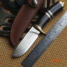 Ben Tyrant Damascus Pattern blade Sandalwood handle Leather sheath fixed blade hunt knife