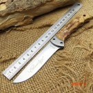Outdoor Browning Fixed Knife 7Cr17MOV Blade Burl Handle Survival Utility Knife Camping EDC
