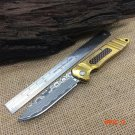 Newest,Outdoor Tools,Damascus Folding Knife,Titanium Sheet Steel Handle Hunting Camping Kn