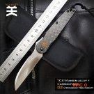 High quality  YUN  Folding  Knife D2 Cold steel BladeTC4 titanium alloy Carbon fiber Handl