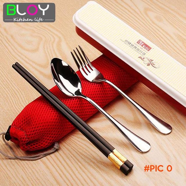 3 Pcs/lot Dinnerware sets Fork Spoon Chopsticks Stainless Steel Cutlery Set with Bag for T