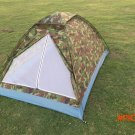 2M*1.3M Portable Single Layer Camping Tent Camouflage for 2 Person Waterproof PU1000mm Pol
