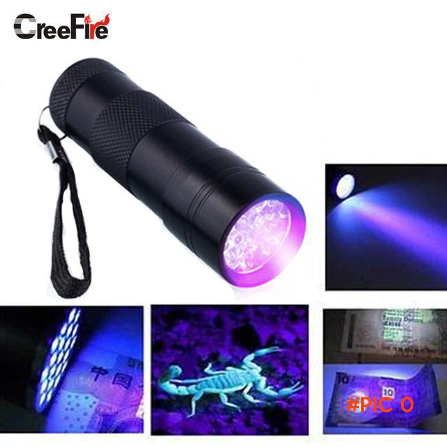 Mini Aluminum Portable UV Flashlight Violet Light 9 LED UV Torch Light Lamp Flashlight BC7