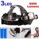 8000Lm CREE XML T6+2R5 LED Headlight Headlamp LED Head Lamp Headlight LED 4-mode torch +2x