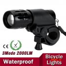 7W CREE Q5 LED 2000lm Aluminum Waterproof IP6 AAA Battery with Holder Front Cycling Bike B
