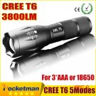 CREE XM-L T6 LED Tactical Flashlight 3800LM E17 Aluminum Torches Light Zoomable Flashlight